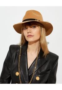 MAISON MICHEL PARIS - Brązowy kapelusz Henrietta. Kolor: brązowy. Wzór: aplikacja. Sezon: jesień