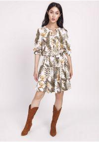 e-margeritka - Sukienka z gumką w pasie - 42. Materiał: materiał, poliester. Długość rękawa: długi rękaw. Typ sukienki: rozkloszowane. Styl: elegancki