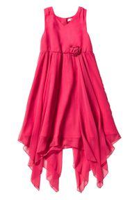 Różowa sukienka bonprix na ramiączkach, w kwiaty