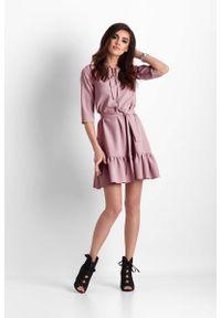 Różowa sukienka wizytowa IVON trapezowa