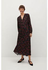 Czarna sukienka mango na co dzień, z długim rękawem, rozkloszowana