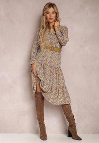 Renee - Beżowa Sukienka Nelo. Kolor: beżowy. Długość rękawa: długi rękaw. Wzór: kwiaty, aplikacja. Długość: midi