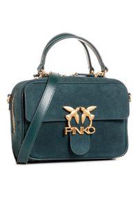 Zielona torebka klasyczna Pinko na ramię, zamszowa