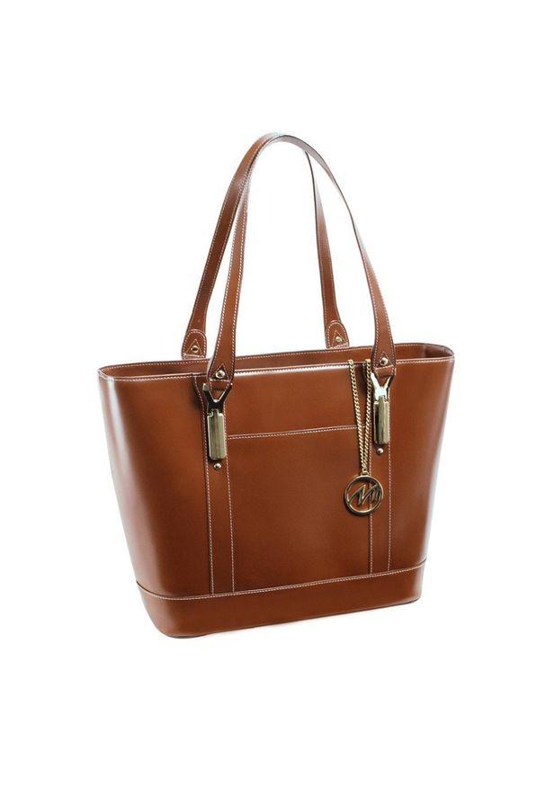 MCKLEIN - Ekskluzywna skórzana torebka damska brązowa Mcklein Arya. Kolor: brązowy. Materiał: skórzane. Styl: klasyczny