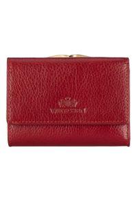 Wittchen - Damski portfel ze skóry na bigiel mały. Kolor: czerwony. Materiał: skóra