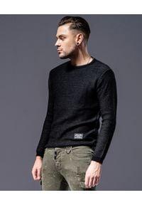 GUNS & TUXEDOS - Czarny sweter Edox. Okazja: na co dzień. Kolor: czarny. Materiał: tkanina. Długość rękawa: długi rękaw. Długość: długie. Styl: elegancki, klasyczny, casual