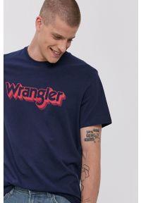 Wrangler - T-shirt bawełniany. Okazja: na co dzień. Kolor: niebieski. Materiał: bawełna. Wzór: nadruk. Styl: casual