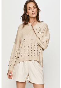 Beżowy sweter Answear Lab z aplikacjami, z długim rękawem, długi, wakacyjny