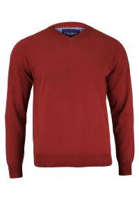 Czerwony sweter Adriano Guinari z dekoltem w serek, na spotkanie biznesowe, biznesowy
