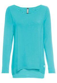 Długi shirt z długim rękawem, dwuwarstwowy bonprix morsko-biały. Kolor: niebieski. Materiał: materiał. Długość rękawa: długi rękaw. Długość: długie