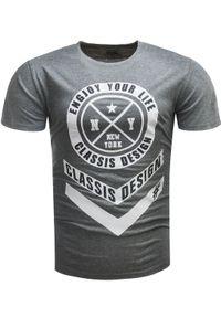 Szary t-shirt z nadrukiem Recea casualowy, z krótkim rękawem, na co dzień