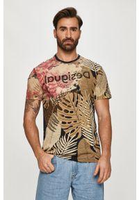 Beżowy t-shirt Desigual casualowy, na co dzień