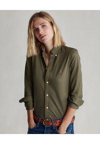 Ralph Lauren - RALPH LAUREN - Zielona koszula Oxford Slim Fit. Typ kołnierza: polo. Kolor: zielony. Materiał: bawełna. Długość rękawa: długi rękaw. Długość: długie. Styl: klasyczny