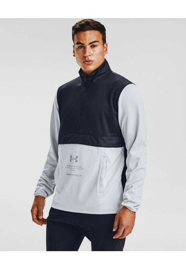 Szara bluza Under Armour z dekoltem woda, długa, sportowa, w kolorowe wzory