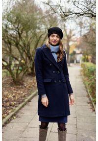 Marie Zélie - Płaszcz wełniany Debora granatowy – flausz. Kolor: niebieski. Materiał: wełna. Wzór: motyw zwierzęcy. Sezon: zima. Styl: klasyczny #6