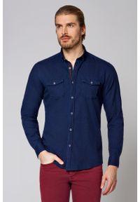 Niebieska koszula casual Lancerto w kolorowe wzory