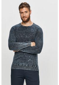 Niebieski sweter Guess Jeans z długim rękawem, długi, na co dzień, casualowy