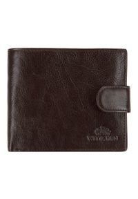 Wittchen - Męski portfel skórzany zapinany na napę. Kolor: brązowy. Materiał: skóra