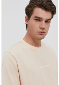 Scotch & Soda - T-shirt bawełniany. Okazja: na co dzień. Kolor: beżowy. Materiał: bawełna. Wzór: nadruk. Styl: casual