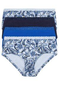 Figi maxi panty z koronką (4 pary) bonprix niebieski paisley. Kolor: fioletowy. Materiał: koronka. Wzór: koronka, paisley