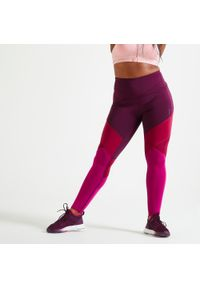 DOMYOS - Legginsy fitness damskie Domyos Color Block. Stan: podwyższony. Materiał: skóra, materiał. Sport: fitness
