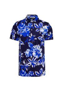 Niebieska koszulka polo Polo Golf Ralph Lauren sportowa, w kwiaty, polo