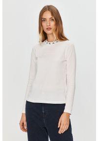 Biała bluzka z długim rękawem Calvin Klein Jeans z okrągłym kołnierzem, z nadrukiem