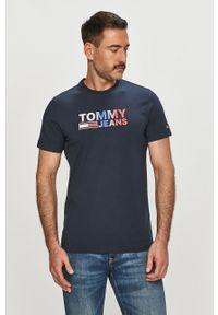 Niebieski t-shirt Tommy Jeans casualowy, z nadrukiem