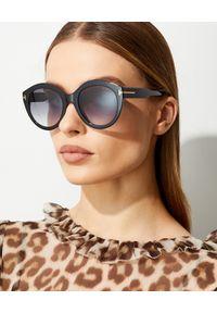 Tom Ford - TOM FORD - Czarne okulary przeciwsłoneczne Rosanna. Kształt: okrągłe. Kolor: czarny. Wzór: aplikacja