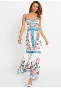 Długa sukienka bonprix biało-niebieski w kwiaty. Kolor: biały. Długość rękawa: na ramiączkach. Wzór: kwiaty. Styl: elegancki. Długość: maxi