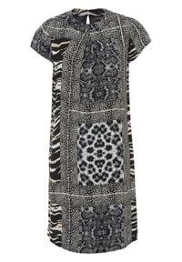 Sukienka w animalistyczny deseń bonprix czarno-szary w paski zebry. Kolor: czarny. Wzór: motyw zwierzęcy, paski. Typ sukienki: proste