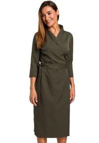 Style - Sukienka z kopertowym dekoltem i szalowym kołnierzem. Materiał: materiał, elastan. Typ sukienki: kopertowe. Styl: elegancki