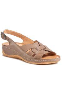 Brązowe sandały Pollonus casualowe, na co dzień