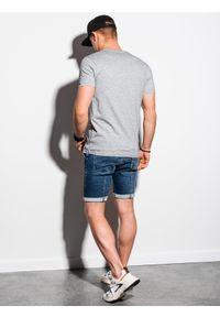 Ombre Clothing - T-shirt męski bawełniany basic S1369 - szary - XXL. Kolor: szary. Materiał: bawełna. Styl: klasyczny