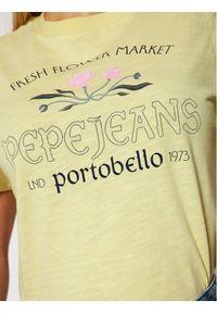 Pepe Jeans T-Shirt Aisha PL504512 Żółty Regular Fit. Kolor: żółty