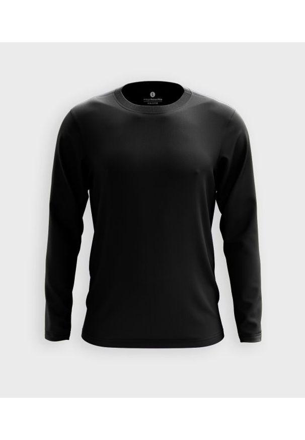 MegaKoszulki - Męska koszulka z długim rękawem (bez nadruku, gładka) - czarna. Kolor: czarny. Materiał: bawełna. Długość rękawa: długi rękaw. Długość: długie. Wzór: gładki
