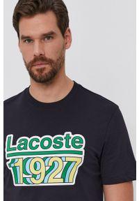 Lacoste - T-shirt bawełniany. Kolor: niebieski. Materiał: bawełna. Wzór: nadruk