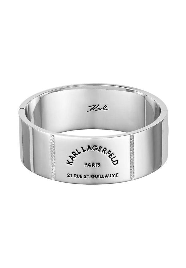 Srebrna bransoletka Karl Lagerfeld z kryształem, z aplikacjami, metalowa