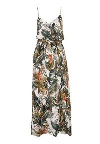 TOP SECRET - Letnia sukienka maxi w egzotyczny wzór. Okazja: na imprezę. Kolor: biały. Materiał: materiał. Długość rękawa: na ramiączkach. Wzór: nadruk. Sezon: lato. Styl: wakacyjny. Długość: maxi #5