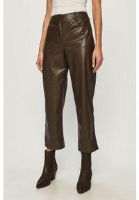 Brązowe spodnie materiałowe only na co dzień, casualowe, z podwyższonym stanem