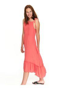 TOP SECRET - Sukienka na ramiączkach z falbaną. Kolor: czerwony. Długość rękawa: na ramiączkach. Sezon: lato. Styl: elegancki, wakacyjny