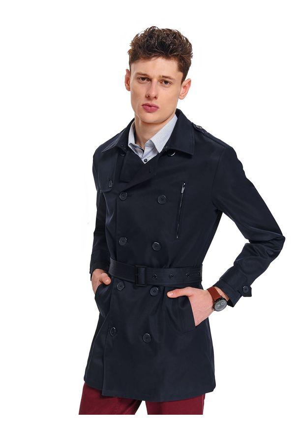 Niebieski płaszcz TOP SECRET w kolorowe wzory, na wiosnę