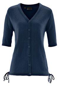 Sweter rozpinany bonprix ciemnoniebieski. Kolor: niebieski. Długość rękawa: krótki rękaw. Długość: krótkie