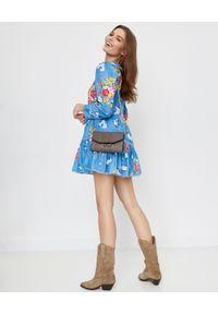 LOVE SHACK FANCY - Niebieska sukienka Marzia. Kolor: niebieski. Materiał: bawełna, koronka, wełna. Wzór: kwiaty, nadruk. Sezon: jesień, lato. Długość: mini