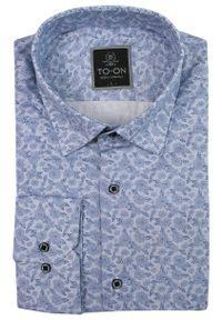 Niebieska elegancka koszula TO-ON w kwiaty, z długim rękawem, na spotkanie biznesowe