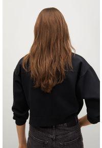 Czarny sweter rozpinany mango z długim rękawem, długi, gładki