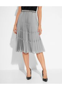 Elisabetta Franchi - ELISABETTA FRANCHI - Plisowana spódnica z biżuteryjnym wykończeniem. Kolor: szary. Materiał: tkanina