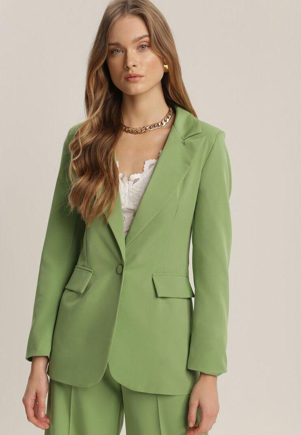 Renee - Jasnozielona Marynarka Kaliphethe. Kolor: zielony. Długość rękawa: długi rękaw. Długość: długie. Styl: elegancki