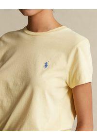 Ralph Lauren - RALPH LAUREN - Żółty t-shirt z logo. Typ kołnierza: polo. Kolor: żółty. Materiał: bawełna #4