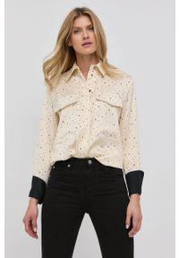 Victoria Victoria Beckham - Koszula. Kolor: beżowy. Materiał: tkanina. Długość rękawa: długi rękaw. Długość: długie